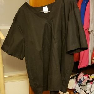 Plain black scrub top